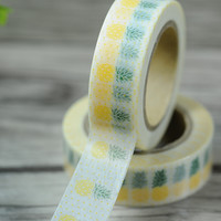 2016 New 1x Yellow Pineapple Fruit Japanese Washi Tape Hobonichi Paper Sticker Decorative Masking Tape Office Adhesive Tape 10m