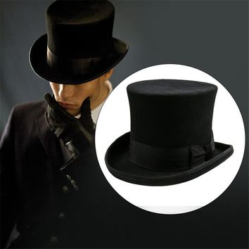 Takerlama Steampunk Mad Hatter Top Hat Victorian Vintage Traditional Wool Fedoras Cylinder Hat Magician Trick Bowler Hat Unisex