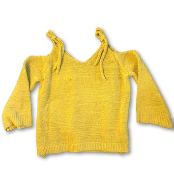 Mustard Cold Shoulder Toddler Sweater