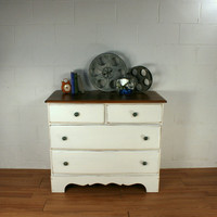 White Dresser with Wood Top