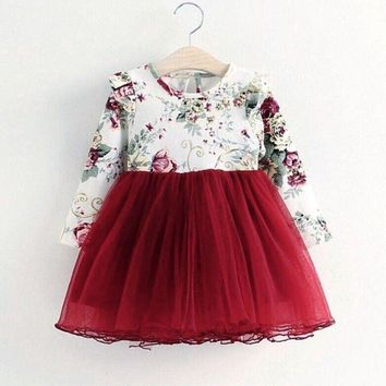 US Kids Baby Girls Tulle Flower Princess Dress Long Sleeve Pageant Party Dresses
