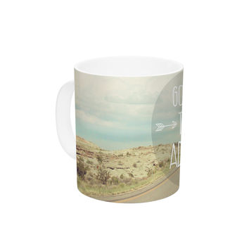 "Jillian Audrey ""Go Onward to Great Adventures"" Typography Ceramic Coffee Mug"