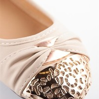 Elegant Gold Toe Ballet Flats - Coral from Casual & Day at Lucky 21 Lucky 21