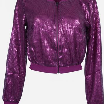 Casual Low Hem Shiny Sequin Embellished Beaded Vintage Cropped Zipper Jacket