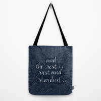 "Tote Bag ""and the rest is rust and stardust"",Canvas Bag,Book Bag,Gift,Lolita Quote,Polka Dot,Large Tote,Reusable Bag,Grocery Bag,16x16,20x20"