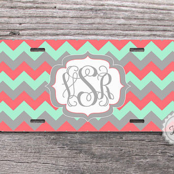 License Plate Custom - Mint green and Coral pink chevron on fancy monogram , personalized car tags - 051