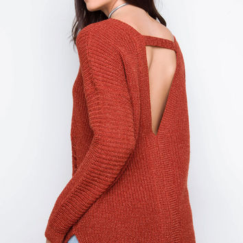 Cozy On Up Oversized Sweater - Rust