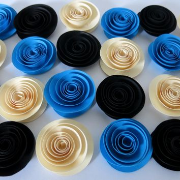 "Dainty Paper Flowers set, 24 Black, Blue and Ivory roses, Festival decorations, Wedding table centerpiece ideas, frat party decor 1.5"" blooms"