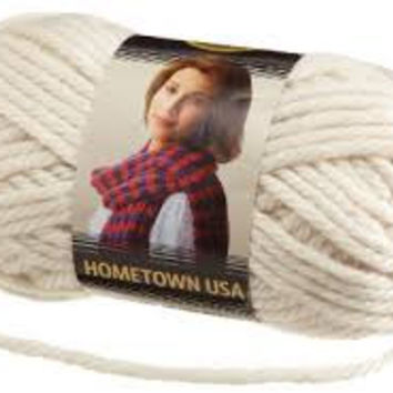 Yarn, Houston Cream, Lion Brand Hometown USA Yarn, Crochet Yarn, Knitting Yarn, Acrylic Yarn, Bulky Weight