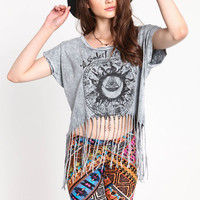 EVIL EYE SUN AND ZODIAC FRINGE TEE