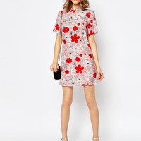 ASOS Shift Dress In Poppy Floral Print With Ladder Trim at asos.com