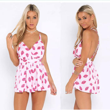 Women's Fashion Summer Stylish Print Sexy Backless Chiffon Romper [6315480193]