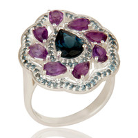 925 Sterling Silver Amethyst And London Blue Topaz Cluster Cocktail Ring