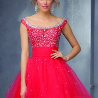 Sticks & Stones by Mori Lee 9292 Beaded Off Shoulder Party Dress
