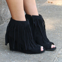 Desert Fringe Black Zip Up Peep Toe Wedge Ankle Boot With Fringe
