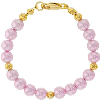 """14k Gold Plated Pink Simulated Pearls Baby Girls Bracelet 5"""""""