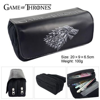 Game Of Throne Dragon Canvas Double Zipper Wallet Students Stationery Case #212 Large Capaeity Pencil Bag Kids Gift