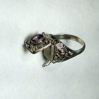Amethyst Poison Ring Size 9 Silver Compartment Ring with Purple Stone February Birthstone Amethyst Ring Boho Ring