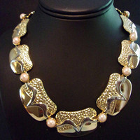 Textured & Shiny Panels Necklace, Two Tone Gold Plated Pearl, Vintage