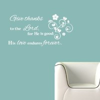 Housewares Vinyl Decal Bible Verses Psalms Quote Lord God Give Thanks Home Wall Art Decor Removable Stylish Sticker Mural Unique Design for Nursery Room