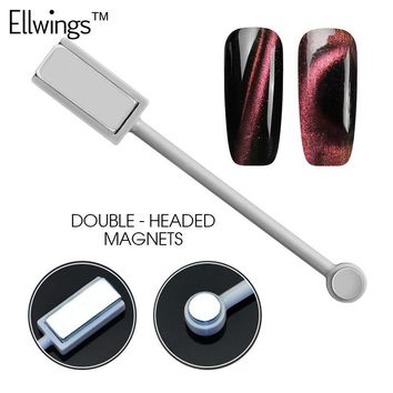 Ellwings 3D DIY Magnet Double-headed Magnetic Plate Pen Strong Magnetic Manicure Tool for Cat Eye UV Gel Nail Polish