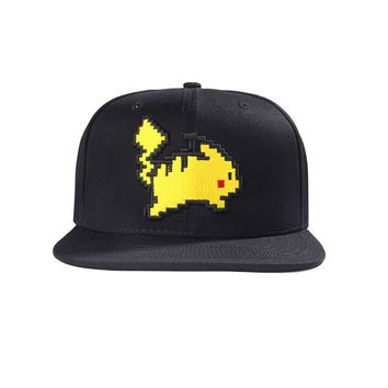 [STOCK] 2018 Anime  Pikachu Black Embroidery Peaked Adjustable Cap Hat Unisex For Halloween Women or child  Kawaii Pokemon go  AT_89_9