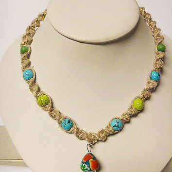 Mushroom  Hemp Necklace with Fimo Glass Mushroom handmade macrame jewelry hippie