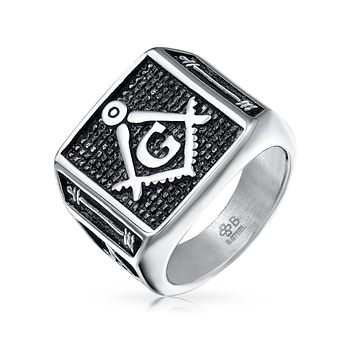 Black Square Mens Signet Freemason Masonic Ring Stainless Steel
