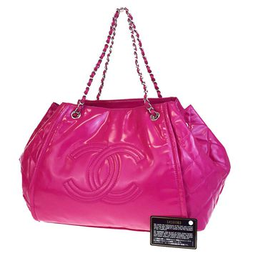Authentic CHANEL CC Logos Quilted Chain Shoulder Bag Patent Leather Pink 84EA890