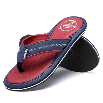 2017 Summer Outdoor Beach Sandals Shoes Collision Color platform wedge Flip Flops Men Anti-slip Flip Flop Cool Slippers