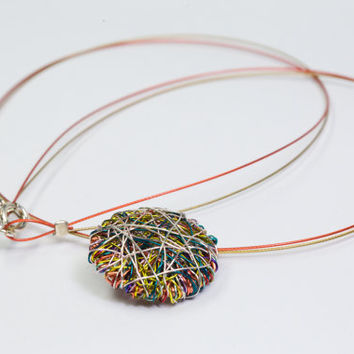 Geometric necklace Geometric jewelry Round necklace Wire sculpture Statement necklace Minimalist necklace Multicolor necklace Cute necklace