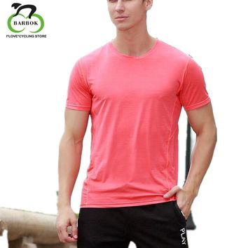 BARBOK Shirt Hombre Running Men Design Quick Dry T-Shirts Dry Fit Tops Tees Sports Men 's Fitness Gym T Shirts