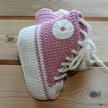 Organic, cotton, crochet, baby, girl, converse, style, shoes, boots, booties, pink, ec