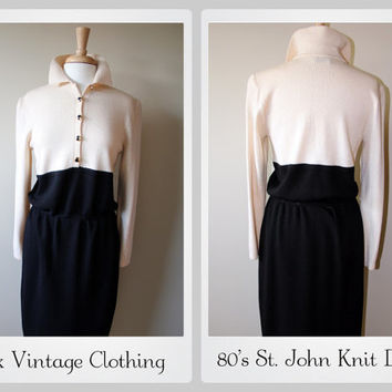 Vintage 1980's St John Knit Dress in Ivory and Black