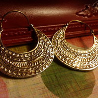 Hammered Brass Earrings Etched Tribal Crescent Hook filigree Earrings Polished Earrings Dangle Drop Earrings Boho Gypsy Bohemian Gift Ethnic