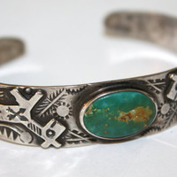 Vintage Cuff Bracelet  STERLING Turquoise Indian 1950s Jewelry