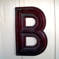 Vintage Very Large Letter B In Red For Marquee Movie Theatre Sign Plastic Dusty And Dirty Measures 17  X  11 and 1/8  X 1 And 1/4 Inches