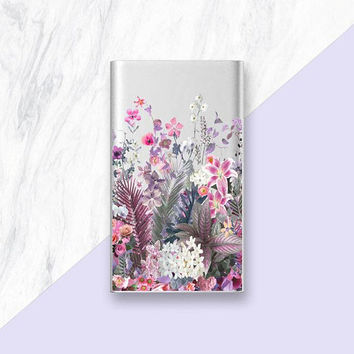 Floral Phone Charger, Portable Charger Gold Power Bank Silver Power Bank Silver Phone Charger, Rose Gold Phone Charger, Lilac iPhone Charger