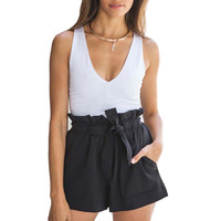 High Waist Black White Women Skirt Shorts Summer Fashion Womens Bow Belt Short Hot Short