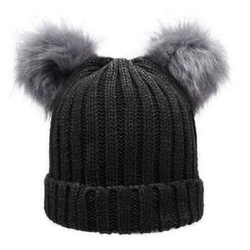DCCKJG2 Women Winter Woolen Knitted Caps Faux Fur Double Pompon Plush Balls Beanie Hat Girls Knitting Beanies Ski Cap Beanies Gorros