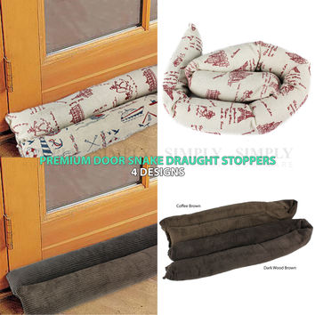 2x Door Snake Sauage Draught Draft Stopper Excluder 4 Designs