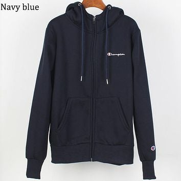 Champion autumn and winter plus velvet warm men and women sports and leisure jacket zipper hoodie navy blue