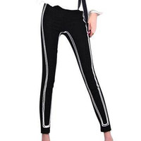 Black Stretchy Legging with White Line Pattern