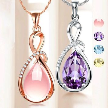 Rose Gold Crystal Rhinestone Pendants Women Necklaces