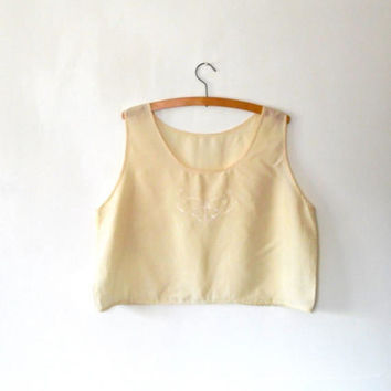 Cream embroidered butterfly blouse. pretty. delicate. reworked. upcycled. silky top. vintage. camisole. semi sheer blouse. oversized top
