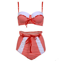 Fashion Women Swimsuit High Waist Bow Girls Bathing Suits