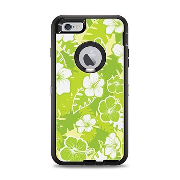 The Green Hawaiian Floral Pattern V4 Apple iPhone 6 Plus Otterbox Defender Case Skin Set