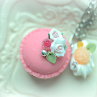 Rose macaroon necklace, pink macaron jewelry, handmade food necklace, whimsical jewelry, lolita accessories, gift under 20