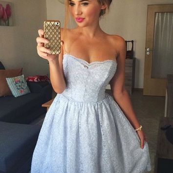 Blue Lace Strapless Short Homecoming Dresses