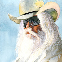 Leon Russell Watercolor Art Print, Classic Rock Leon Russell Portrait, Gift for Music Lover, Classic Rock Art Print, Classic Music Wall Art